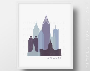 Atlanta Skyline Printable Download  -  Last Minute Gift