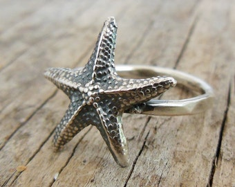 Tiny Starfish Ring - Sterling Silver - Starfish Ring - Beach Jewelry for women - Starfish Charm Ring - Silver Starfish ring