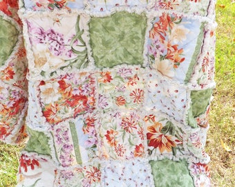 Floral Rag Quilt - Lap Quilt - Modern Rag Quilt - Green, Blue, Orange, Purple - Cottage Chic Rag Quilt - Mother's Day - Gift for Her
