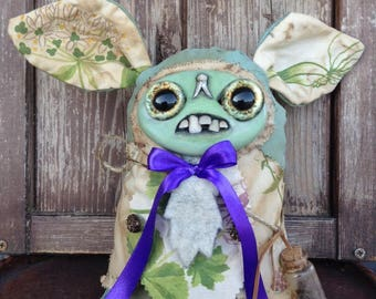 Inspired from artist Amanda Louise Spayd. Stuffed Puppet, hand made, fabric doll, fimo