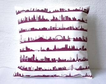 urban Boheme throw Pillow with 16 Cities Cover - 100% Cotton Twill - 16 Cities Skyline - made with passion - hand screenprinted antique pink