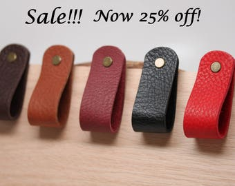 Sale!!! Handcrafted in USA: All leather medium loop drawer / cabinet pulls tabs with Hardware!