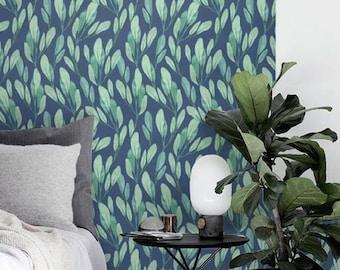 Watercolor leaves wallpaper, Botanical removable wallpaper, Blue background sticker, Leaves wall decal, BW053