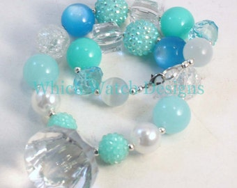 Ice Princess.. Chunky Frozen Inspired Blue, Green and White Toddler Bubblegum Necklace, Crystal Pendant