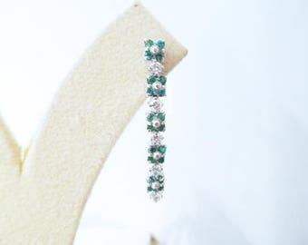 Emerald Earrings ct 0.65 brilliant Diamonds ct 0.60 F vs white gold 18 kt-discount
