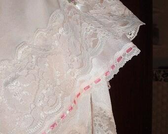 Vintage Slip Skirt Re-purposed, Lace Skirt Knee Length Pale Pink
