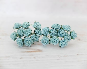 20 10mm mulberry blue roses