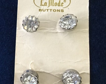 """4 Vintage Carded Rhinestone Buttons, 7/16"""", Metal Back"""