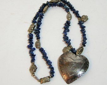 Tin Heart Necklace With Blue Stones