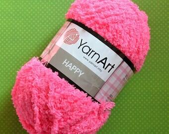 Happy YarnArt - 789 Neon Pink / Worldwide Shipping / Crochet and Knitting Yarn / Furry / Fuzzy / Fluffy / 1 ball/100g