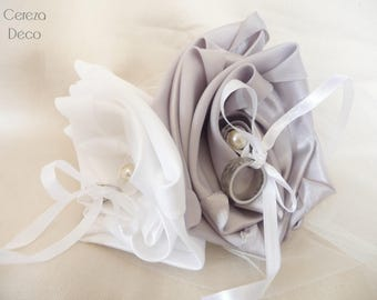 Flower white silver wedding ring bearer pillow wedding ring
