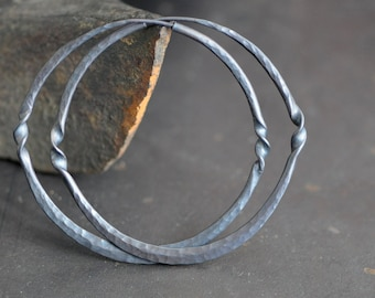 dark sterling silver hoop earrings with twist detail,  endless style hoops 2 inch, made in your choice of texture and finish, eco friendly
