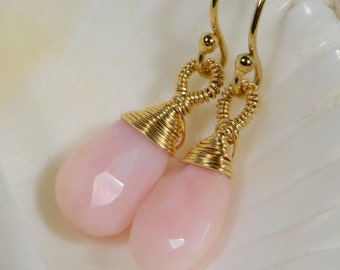 Peruvian Pink Opal Earrings Drop Earrings Beaded Earrings Wire Wrapped 14K Gold Filled Earrings