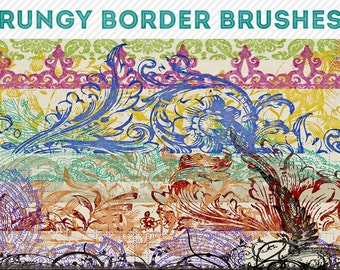 photoshop brushes - grungy border brushes 2 - for photography or scrapbooking - commercial use allowed - automatic download