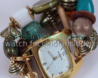 Turquoise Treasure.. Chunky Turquoise, White, Olive Green, Brown and Gold Interchangeable Beaded Watch Band