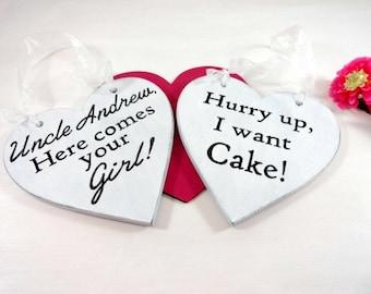 Ring Bearer Pillow Alternative Wedding Signage Flower Girl and Ring Bearer Funny Wedding Signs Cute Wedding Signs Wood Wedding Signs
