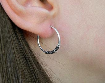 2x20 mm Sterling Silver Hoop Earrings - Silver Hoop Earrings,Tiny Hoop Earrings - Hoop Earrings - Small Hoop Earring - Silver Hoop Tiny,057H