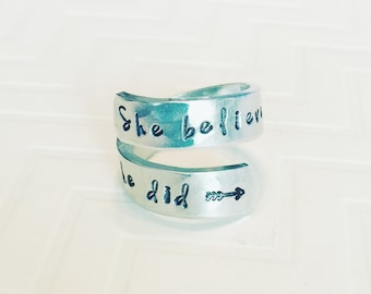 She Believed She Could So She Did Ring - Silver Wrap Ring - Gift For Her - Motivational Gift - Inspirational Gift - Graduation Gift
