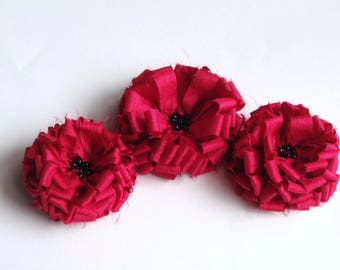 3 Red Fabric Flowers Embellishmen