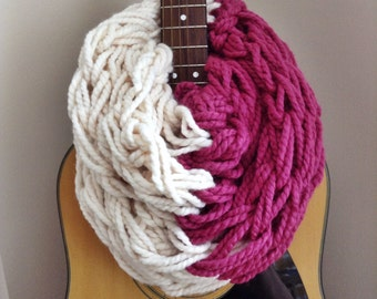Knit Scarf ||Ready to Ship|| Infinity Knit Scarf ||  Chunky Knit Scarf || Circle Scarf ||  Wool Scarf || Raspberry Pink White