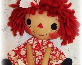 Cloth Doll Pattern, PDF Pattern, Rag Doll Sewing Pattern, primitive doll, raggedy ann, annie  Softie, digital download, Instant download