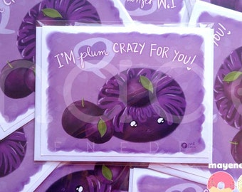 plum purple donut pun greeting card, size A2