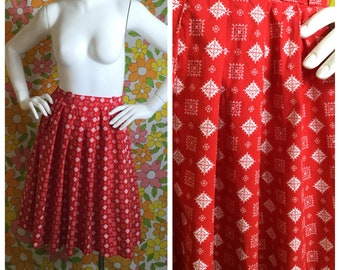 60s Vintage Bandana Print Red Pleated Skirt Small Medium