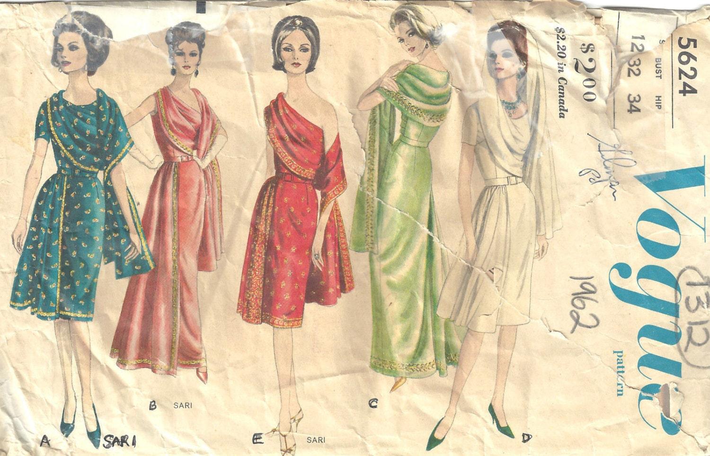 1962 Vintage VOGUE Schnittmuster B32 Kleid 1312 Vogue