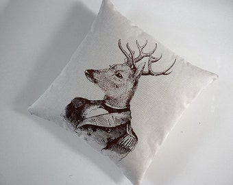 Whitetail Deer General silk screened cotton canvas throw pillow 18 inch square