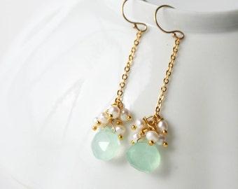 Seafoam Drop Earrings, Bridesmaid Earrings, Green Earrings, Pastel