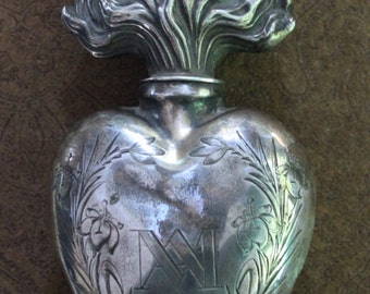 Sacred Collection Relic- Antique 1800's French Silver Ave Maria Holy Water or Oil Ex Voto