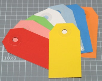 """Mini Shipping Tags (50) ... 2-3/4"""" x 1-3/8"""" Colorful Tags Product Tags Gift Tags Choose Your Color Wedding Tags Baby Shower Tags Blank Tags"""