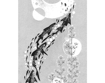 Shark Print A5, black and white, greyscale, moon, fish, ocean
