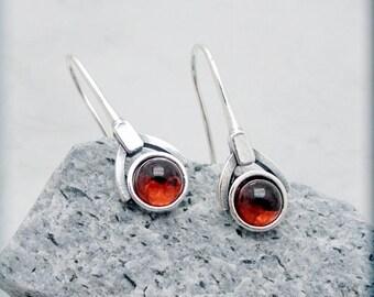 Garnet Earrings, January Birthstone Earrings, Gemstone Jewelry, Gemstone Earrings, Sterling Silver, Modern, Minimalist