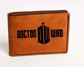 Doctor Who Wallet Mens Leather Wallet Dr Who Custom Leather Wallet Doctor Who Personalized Engrave Wallet Custom Gift Hand Stitched Dr Who