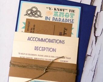 "Nautical ""Tie the Knot"" wedding invitation set"