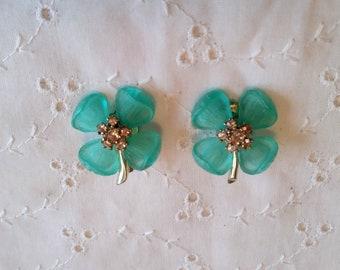 Vintage Blue Flowers Clip on Earrings silver tone