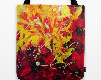 Abstract Tote Bag, Art Tote, Red Tote, Yellow Tote, Colorful Market Tote Bag, Shopping Tote, Book Tote, Girls Tote Bag, Unique Gifts for Her