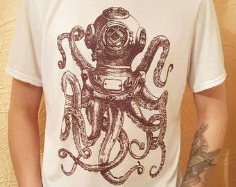 Mens Octopus T-Shirt, Steampunk Kraken Tshirt, Deep Sea Diving, Giant Squid Shirt, Rustic Diver Tee, Gifts For Him, Fathers Day Top