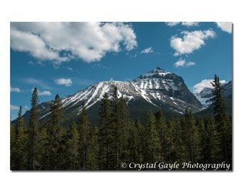 Mountain Print, Canadian Landscape Photography, Rocky Mountain Lodge Decor, Blue Unframed Office Wall Art, Divide Creek Picture, Clouded Sky