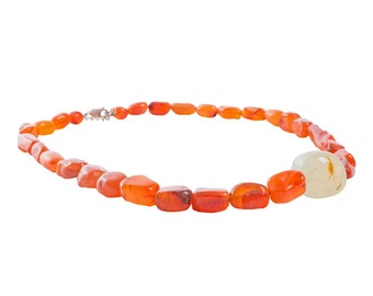 Carnelian Bead Necklace with Green 'Egg'