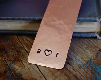 Couples Initial Bookmark,Personalized Bookmark, Copper Anniversary,Copper Bookmark,Long Distance Relationship,Valentines Day Gift for Him