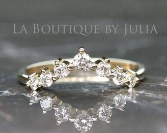 Curved Diamond Wedding Band.Nesting Wedding Ring.Matching Diamond Wedding Band.14K Chevron ring.Rose gold wedding band.Diamond Crown Ring.