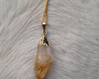 Natural Raw Citrine Chunk Necklace