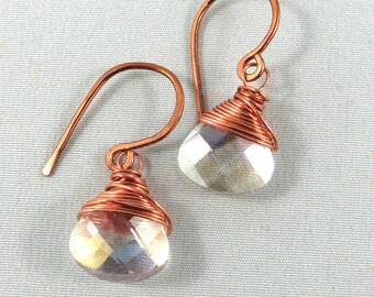 Wrapped Briolette Earrings. Hammered Copper. Prism drop earrings. Copper wire wrapped.  JemstoneZ Earrings.