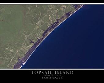 Topsail Island North Carolina Satellite Poster Map