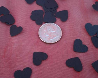 Black Hearts Confetti, Black Hearts Paper Dust Confetti, Black Valentine Hearts Card Stock Confetti, 250 Black Hearts, Gothic Black Hearts