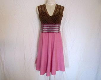 Neapolitan Upcycled V-Neck Dress - Size Medium Large - Brown Lace Bodice
