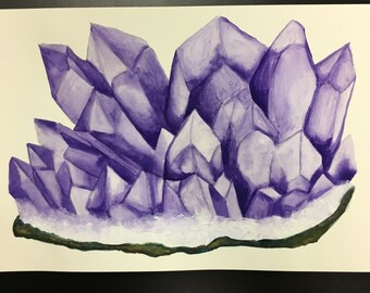 Amethyst Crystal Watercolor Painting Art