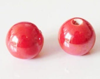 1 x Pearl handcrafted 8mm red porcelain